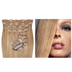 Kit extensions de cheveux à clips naturel blond cendré 24 luxe 100% volume 180 Gr. 53 cm