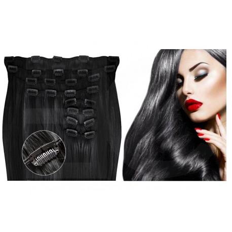 Kit extension de cheveux à clips naturel Noir 1 luxe 100% volume 180 Gr. 63 cm