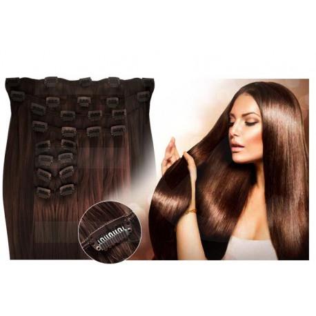 Kit extension de cheveux à clips naturel chocolat 4 luxe 100% volume 180 Gr. 63 cm