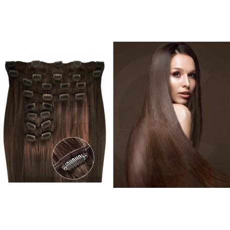 Kit extension de cheveux à clips naturel châtain 6 luxe 100% volume 180 Gr. 63 cm