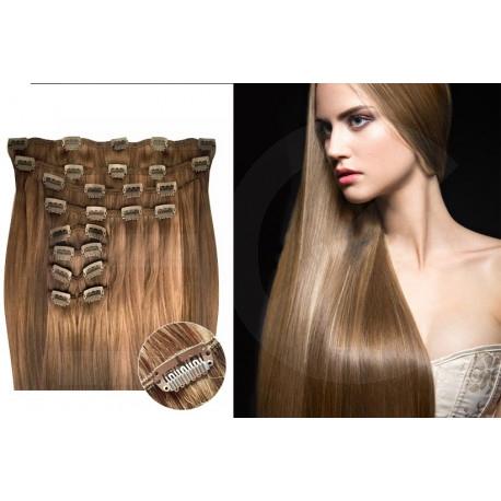 Kit extension de cheveux à clips naturel clair 12 luxe 100% volume 180 Gr. 63 cm
