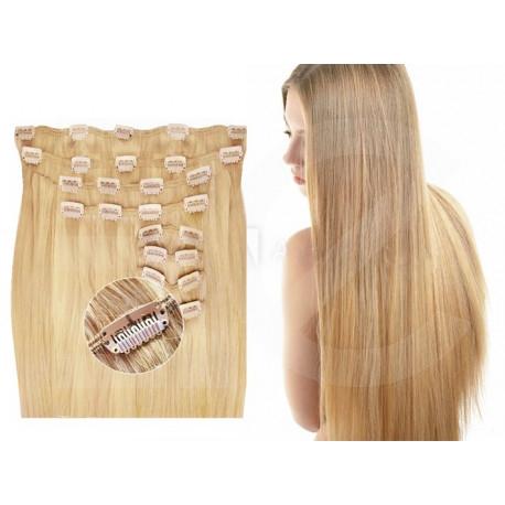 Kit extension de cheveux à clips naturel blond 22 luxe 100% volume 180 Gr. 63 cm