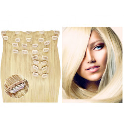 Kit extension de cheveux à clips naturel blond clair 613 luxe 100% volume 180 Gr. 63 cm