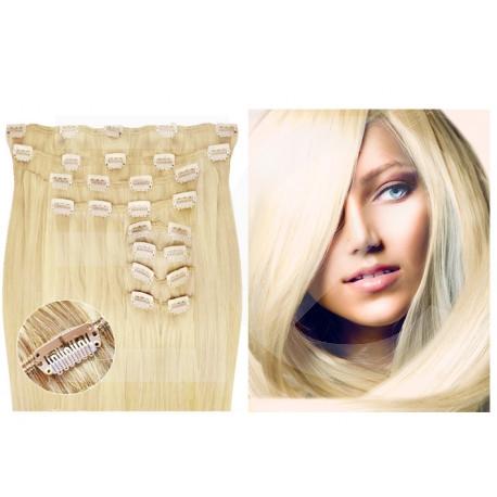 Kit extension de cheveux à clips naturel blond clair 613 luxe 100% volume 180 Gr. 63 cm