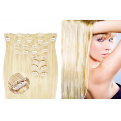 Kit extension de cheveux à clips naturel blond platine 613B luxe 100% volume 180 Gr. 63 cm