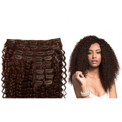 Extension cheveux à clips naturelle volume luxe 180 gr 4 chocolat frisés 63 cm en vente sur elite-extensions.fr