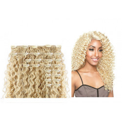Extension cheveux à clips naturelle volume luxe 180 gr 613 blond clair frisés 63 cm en vente sur elite-extensions.fr