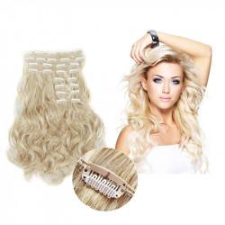Extension cheveux à clips naturelle volume luxe 180 gr  Blond clair 613 bouclée 63 cm en vente sur elite-extensions.fr