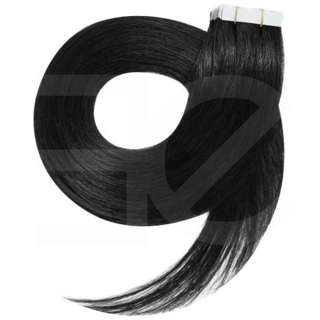 Extensions n°1 (noir) cheveux 100% naturels adhésives / Tape 50 cm