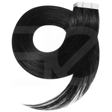 Extensions n°1 (noir) cheveux 100% naturels adhésives / Tape 63 cm