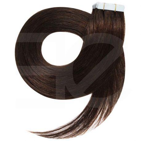 Extensions N°2 (châtain foncé) cheveux 100% naturels adhésives / Tape 50 cm