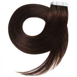 Extensions N°2 (châtain foncé) cheveux 100% naturels adhésives / Tape 63 cm