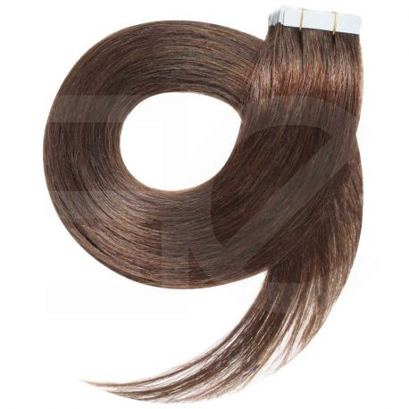 Extensions N°8 (Châtain) cheveux 100% naturels adhésives / Tape 50 cm