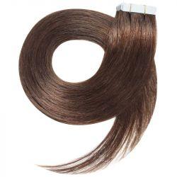 Extensions N°8 (Châtain) cheveux 100% naturels adhésives / Tape 63 cm
