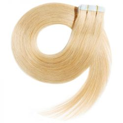 Extensions adhésives blond clair cheveux raides 50 cm