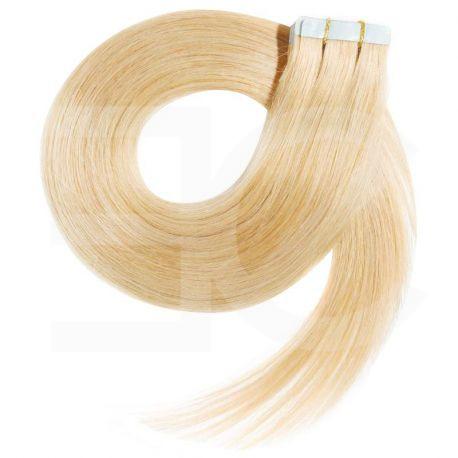 Extensions adhésives / Tape blond clair n°613 cheveux 100% naturels 73 cm
