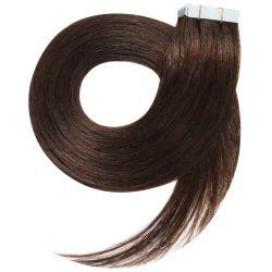 Extensions N°4 (Chocolat) cheveux 100% naturels adhésives / Tape 63 cm