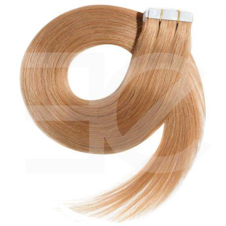 Extensions adhésives / Tape blond dorées n° 27 cheveux 100% naturels 63 cm