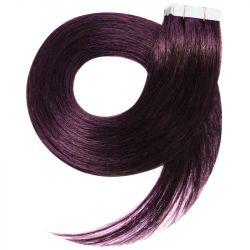 Extensions n°99J (prunes) cheveux 100% naturels adhésives / Tape 50 cm
