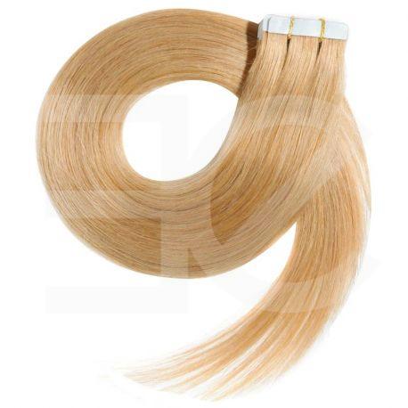 Extensions n° 22 (blond) cheveux 100% naturels adhésives / Tape 63 cm