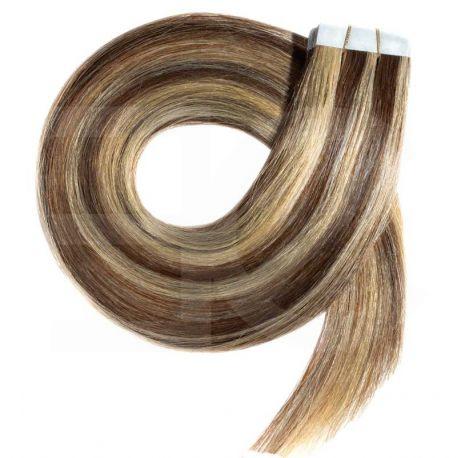 Extensions n°8.22 (châtain méché blond) cheveux 100% naturels adhésives / Tape 50 cm