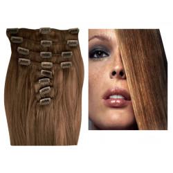 Extensions à clips châtain clair cheveux raides 53 cm