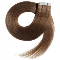Extensions adhésives / Tape châtain clair cheveux 100% naturels 73 cm