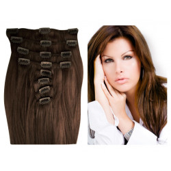 Extensions n°8 (chatain) cheveux 100% naturels à clips 55 cm