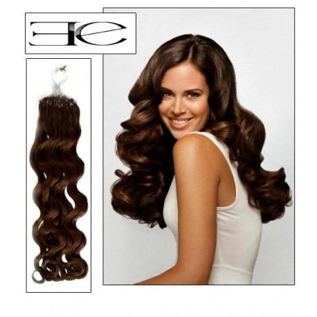Extensions n°4 (chocolat) cheveux 100% naturels à loop bouclé 61 cm en vente sur elite-extensions.fr