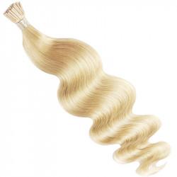 Extensions n°613 (blond clair) cheveux 100% naturels à froid 50 cm Bouclé/ondulé