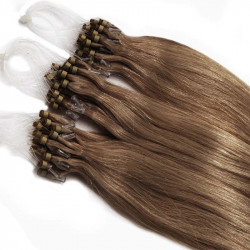 Extensions à loops châtain clair cheveux raides 48 cm