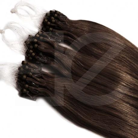 Extensions n°4 (chocolat) cheveux 100% naturels à loop 48 cm
