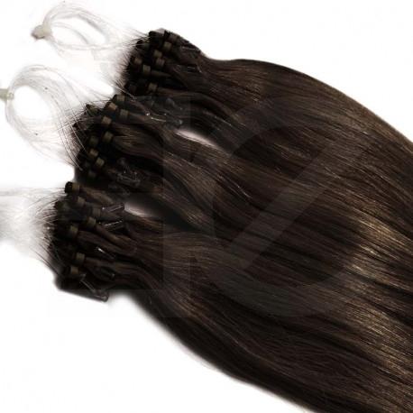 Extensions n°2 (chatain foncé) cheveux 100% naturels à loop 48 cm