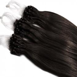 Extensions n°1B (brun) cheveux 100% naturels à loop 48 cm