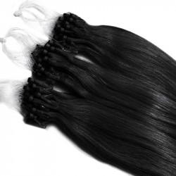 Extensions n°1 (noir) cheveux 100% naturels à loop 48 cm