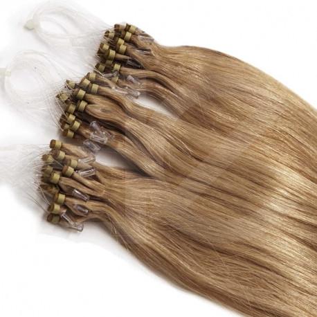 Extensions n°14 (blond doré) cheveux 100% naturels à loop 61 cm