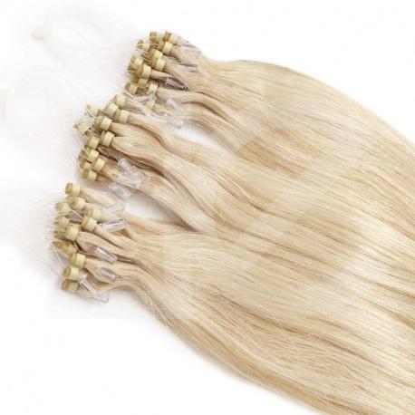 Extensions n°613B (blond platine) cheveux 100% naturels à loop 61 cm