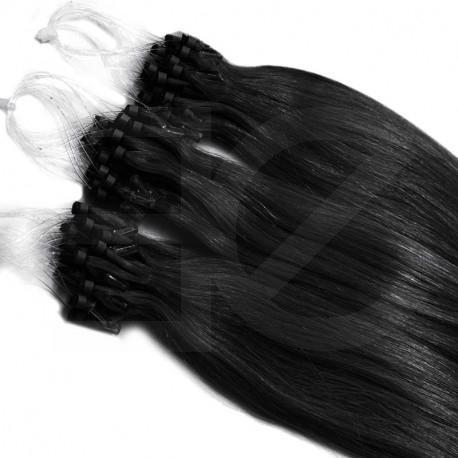 Extensions n°1 (noir) cheveux 100% naturels à loop 48 cm 085 Gr