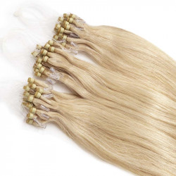 Extension cheveu naturel blond clair n°613 loop 48 cm 1 Gr