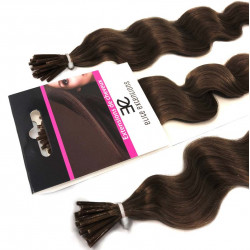 Extensions à froid chocolat cheveux frisés 60 cm
