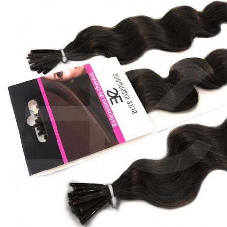 Extensions n°1B (brun) cheveux frisés 100% naturels à froid 60 cm