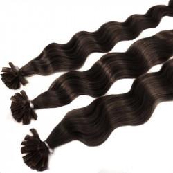 Extensions n°2 (chatain foncé) cheveux 100% naturels à chaud 50 cm Bouclé/ondulé