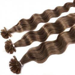 Extensions n°12 (Blond clair) cheveux 100% naturels à chaud 63 cm Bouclé/ondulé