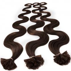 Extensions n°4 (chocolat) cheveux 100% naturels à chaud 50 cm Bouclé/ondulé