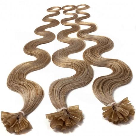 Extensions n°14 (blond doré) cheveux 100% naturels à chaud 50 cm