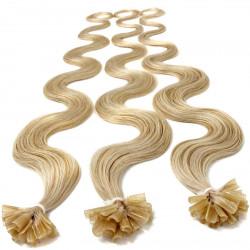 Extensions à chaud blond clair cheveux bouclés 63 cm 1 Gr