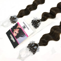 Extension cheveu loop frisé n°2 (châtain foncé) 100% naturel 61 cm