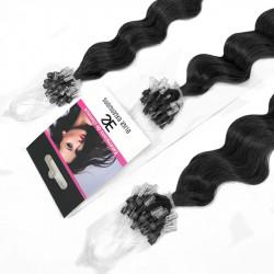 Extensions cheveux loop n°1 (noir) 100% naturels frisées 61 cm