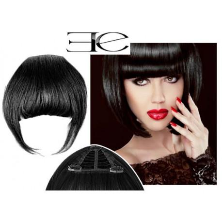 Frange à clips N1 noir cheveux 100 % naturels en vente sur elite-extensions.fr
