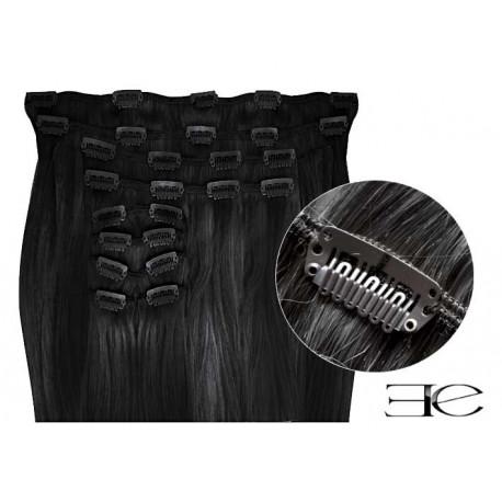 Extensions de cheveux à clips synthétiques noir extra volume 50 cm en vente sur elite-extensions.fr